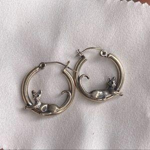 Silver Cat Mini Hoops